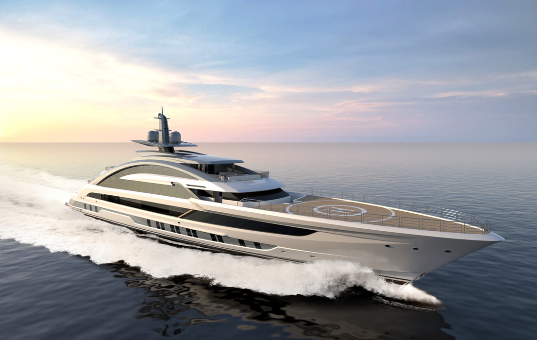 This is what the future flagship of the Dutch shipyard Heesen looks like on the rendering. «At the back of the boat there will be a four-sided cage» that runs parallel to the bottom from the stem to the stern like a backbone. The patented technology is called backbone by Heesen. This was essential to give the aluminium giant yacht sufficient stiffness without making it too heavy. The low weight and cleverly engineered hull will allow Cosmos to reach speeds of 29 to 30 knots.