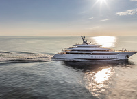 This is the new flagship of a young Italian shipyard and a real long lasting one. The yacht has been little by little designed and built since 2011. The main object of pride on board is the 20-metre long living room, the slabs over which are not held by any supporting column.