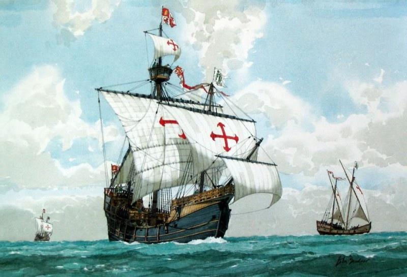 Каравеллам Колумба удалось пережить встречу с волной-монстром, поднявшейся до верхушек мачт
