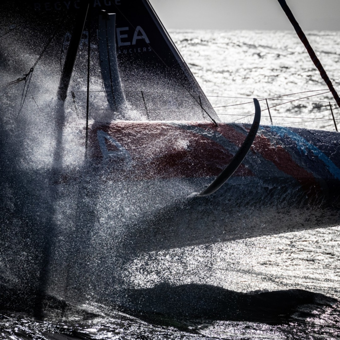 New IMOCA by Sébastien Simon - ArkeaPaprec. The photographer took it from a helicopter while Sébastien and his teammate Vincent Riou were training before Transat Jacques Vabre 2019. «The Vendée Globe 2020 will be amazing»,
